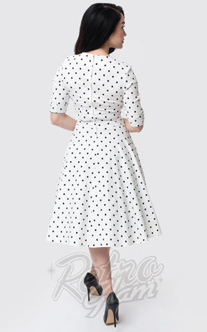 Unique Vintage Delores Swing Dress in White & Black Dot back
