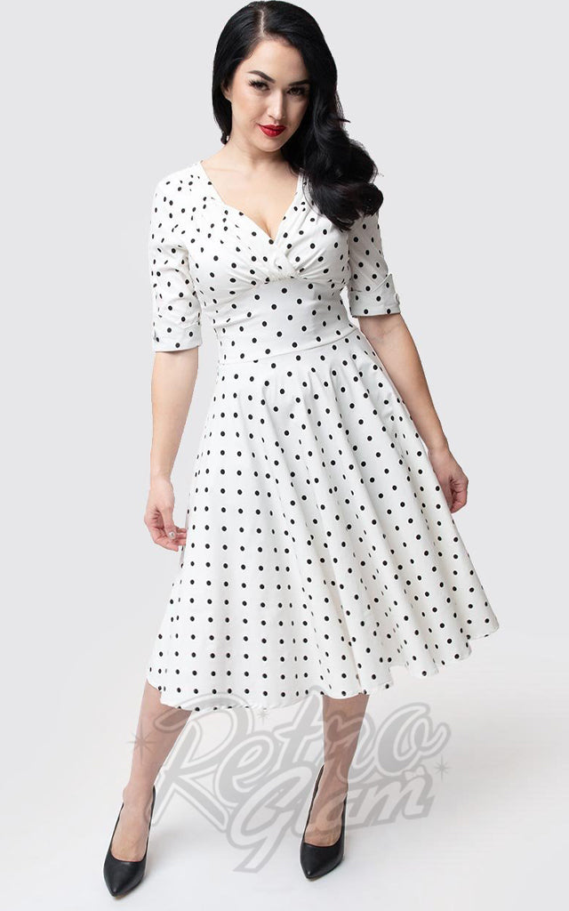 f9bb5c8ed8bab Unique Vintage Delores Swing Dress in White & Black Dot – Retro Glam