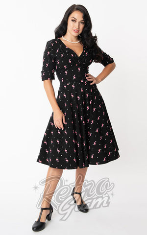 Unique Vintage Delores Swing Dress in Black with Flamingos