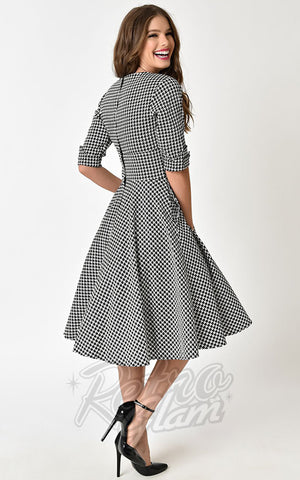 Unique Vintage Delores Swing Dress in Houndstooth back