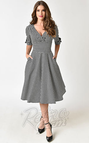Unique Vintage Delores Swing Dress in Houndstooth