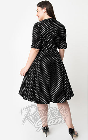 Unique Vintage Delores Swing Dress in Black & White Pin Dot curvy back
