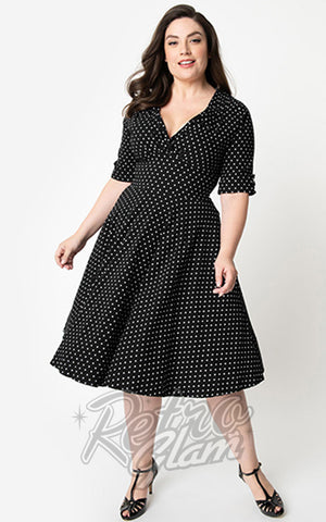 Unique Vintage Delores Swing Dress in Black & White Pin Dot curvy
