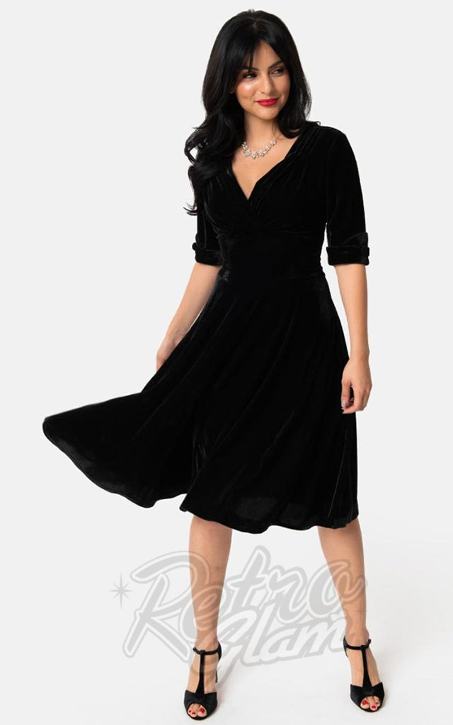 Unique Vintage 1950s Velvet Delores Swing Dress in Black