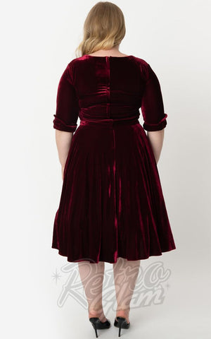 Unique Vintage 1950s Velvet Delores Swing Dress in Burgundy curvy back
