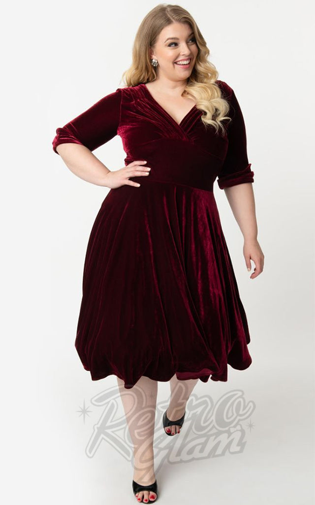 Unique Vintage 1950s Velvet Delores Swing Dress in Burgundy