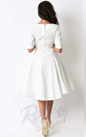 Unique Vintage Delores Swing Dress in Ivory  back