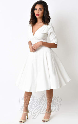 Unique Vintage Delores Swing Dress in Ivory  side