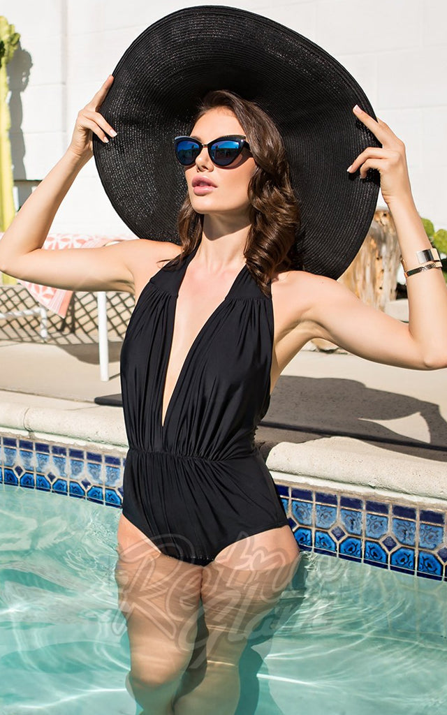 Unique Vintage Derek Swimsuit in Black