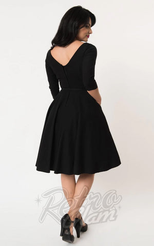 Unique Vintage 1950's Devon Swing Dress in Black back