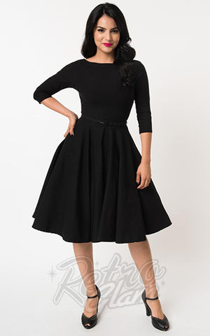 Unique Vintage 1950's Devon Swing Dress in Black