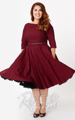 Unique Vintage 1950's Devon Swing Dress in Wine Red curvy