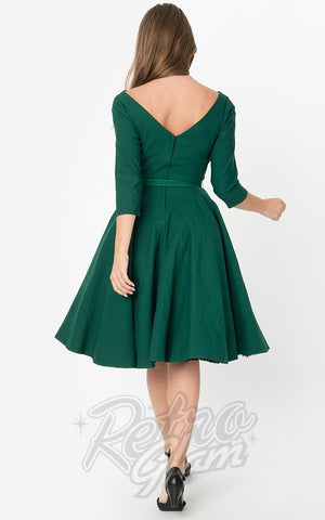 Unique Vintage 1950's Devon Swing Dress in Emerald Green back