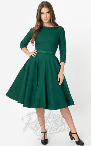 Unique Vintage 1950's Devon Swing Dress in Emerald Green
