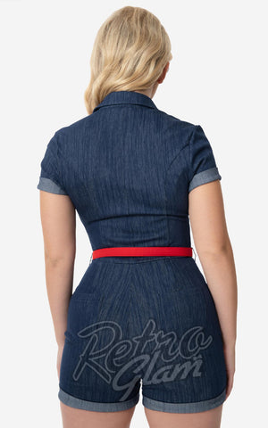 Unique Vintage Dixie Romper in Blue Denim back