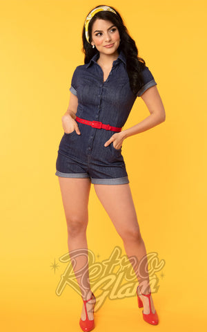 Unique Vintage Dixie Romper in Blue Denim