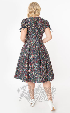 Unique Vintage Floral Garden Print Dora Swing Dress back