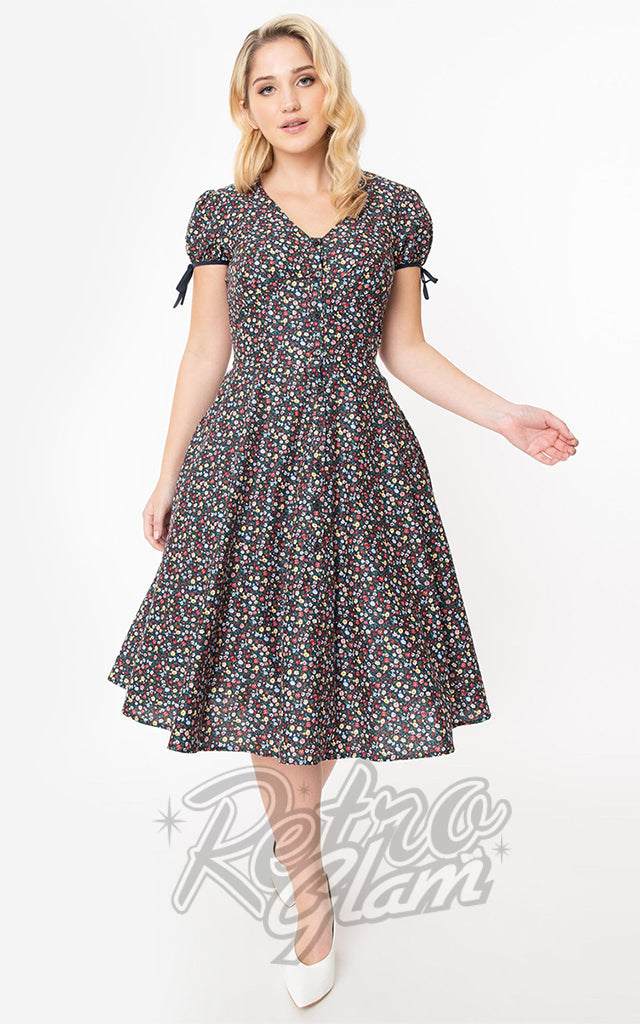 Unique Vintage Floral Garden Print Dora Swing Dress
