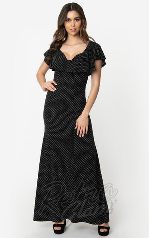 Unique Vintage Dunaway Maxi Dress in Black & White Pindots