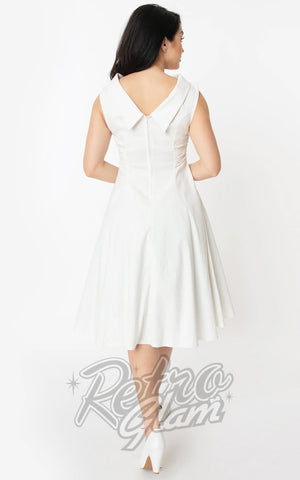 Unique Vintage Eliza Swing Dress in Ivory back