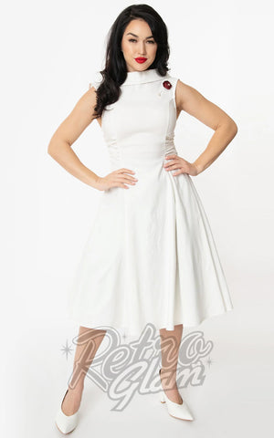 Unique Vintage Eliza Swing Dress in Ivory