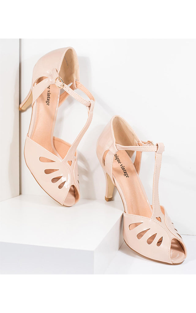 Unique Vintage Everly T-Strap Shoes in Beige Patent