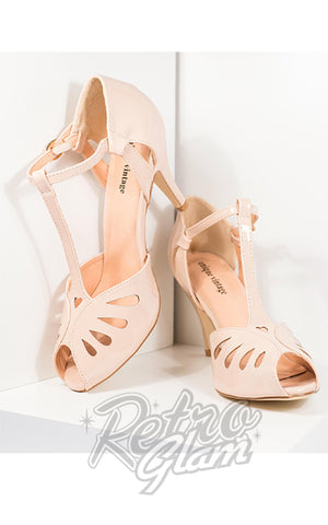 Unique Vintage Everly T-Strap Shoes in Beige Patent pinup