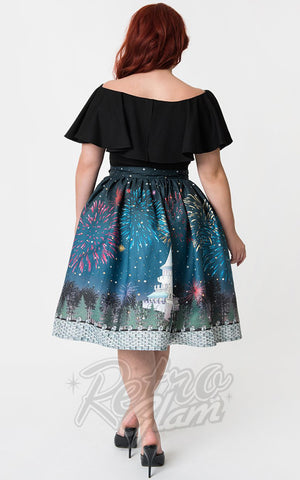 Unique Vintage 1950s Magic Fireworks Show Swing Skirt curvy back