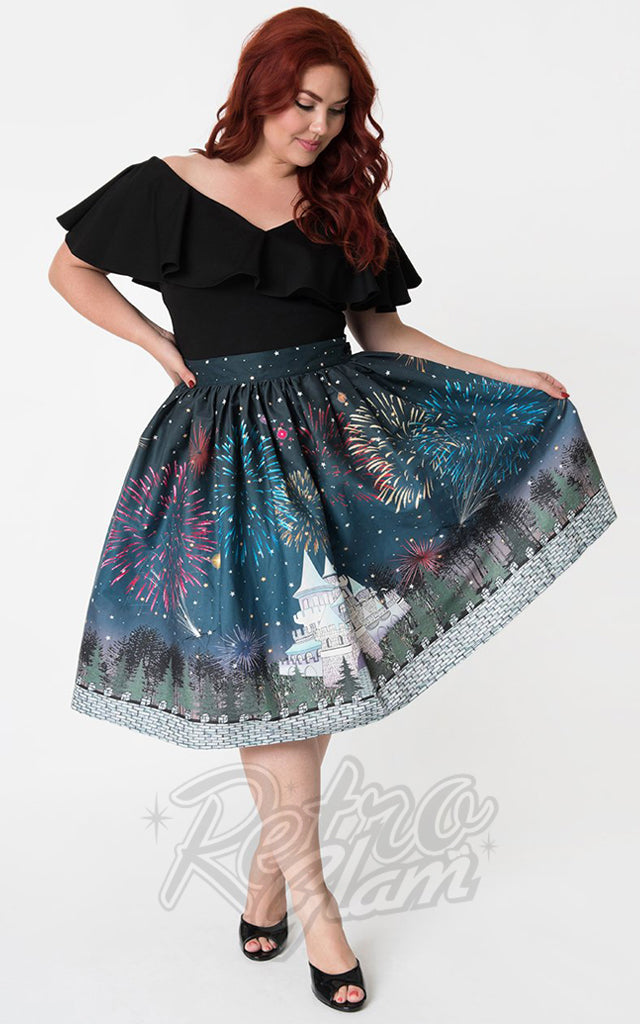 Unique Vintage 1950s Magic Fireworks Show Swing Skirt