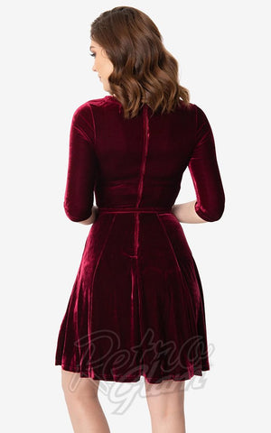 Unique Vintage Fit & Flare Velvet Dress in Merlot back