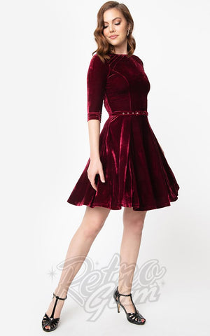 Unique Vintage Fit & Flare Velvet Dress in Merlot