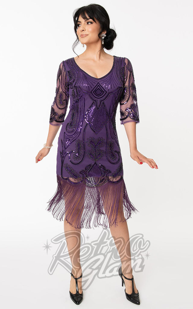 Unique Vintage Margaux 3/4 Sleeve Purple Flapper Dress