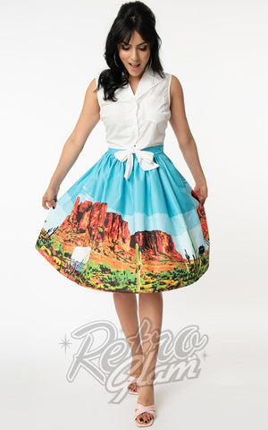 Unique Vintage Gellar Swing Skirt in Western Landscape
