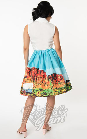 Unique Vintage Gellar Swing Skirt in Western Landscape back