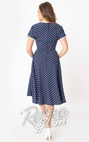 Unique Vintage Goldie Swing Dress in Navy & White Polka Dot back