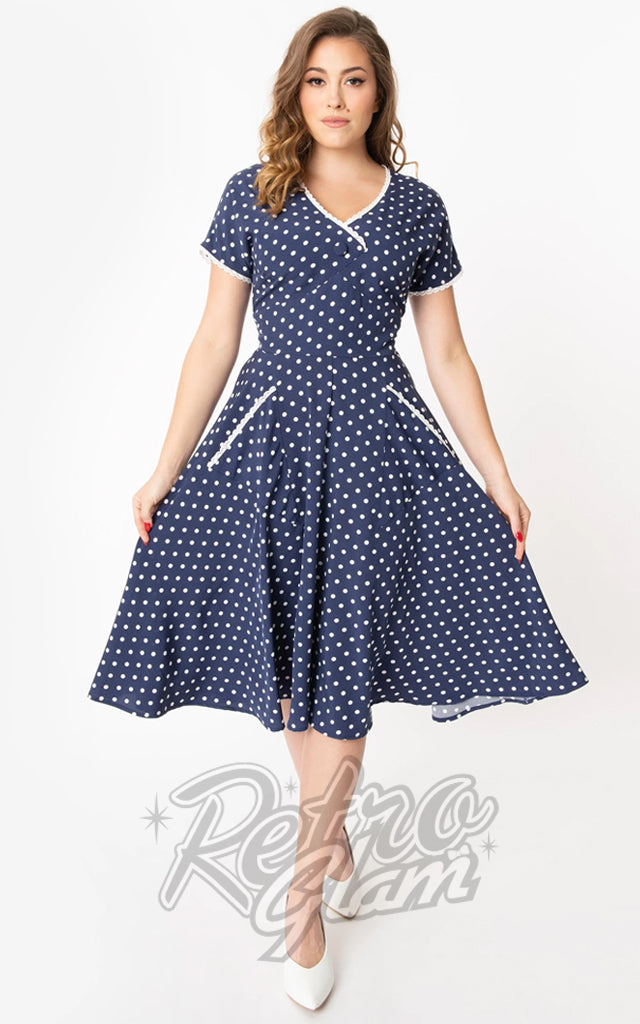 Unique Vintage Goldie Swing Dress in Navy & White Polka Dot