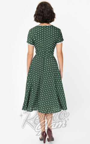 Unique Vintage Goldie Swing Dress in Green & White Polka Dot  back