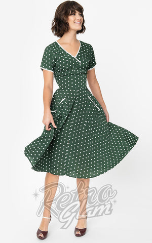 Unique Vintage Goldie Swing Dress in Green & White Polka Dot
