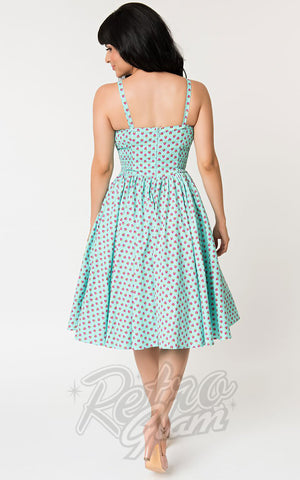 Unique Vintage Golightly Dress in Blue & Pink Strawberry Print back
