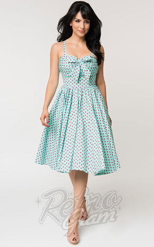Unique Vintage Golightly Dress in Blue & Pink Strawberry Print
