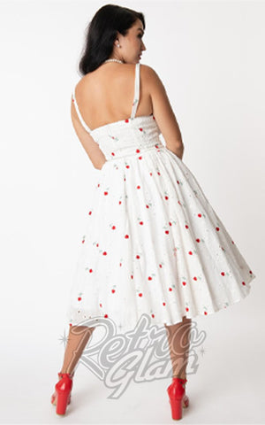 Unique Vintage Golightly Dress White Eyelet With Roses back