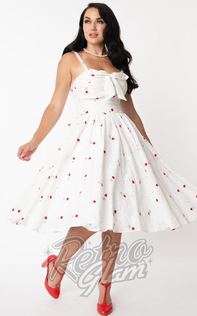 Unique Vintage Golightly Dress White Eyelet With Roses