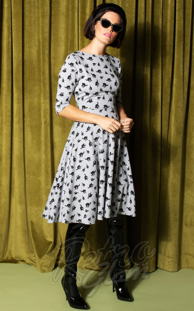 Unique Vintage Grey with Black Cats Graves Dress