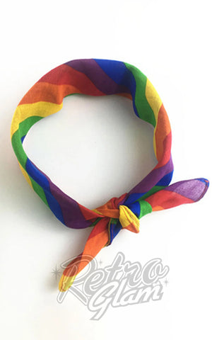 Unique Vintage Hair Scarf in Rainbow Print chiffon