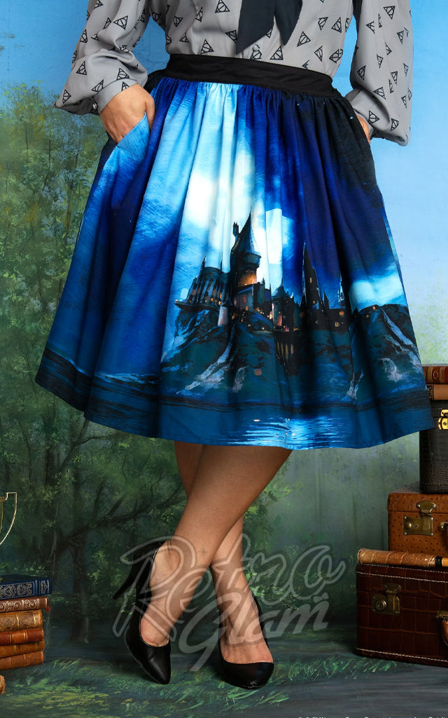 Harry Potter x Unique Vintage Hogwarts Castle Swing Skirt