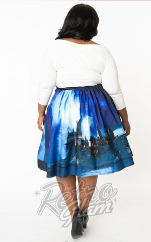 Harry Potter x Unique Vintage Hogwarts Castle Swing Skirt curvy back