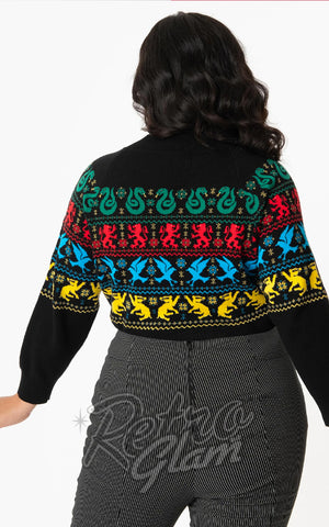 Harry Potter x Unique Vintage Hogwarts House Sweater curvy back