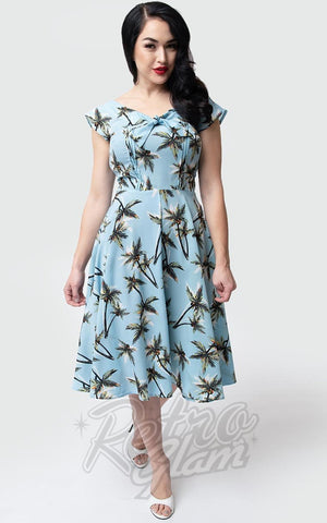 Unique Vintage Havilland Dress in Light Blue Palm Print