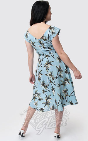 Unique Vintage Havilland Dress in Light Blue Palm Print back