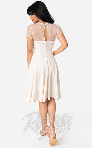 Unique Vintage 1940's Heather Midi Dress in Ivory back